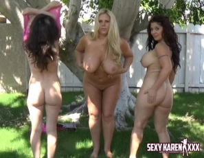 3 naked MILF's outdoors smearing pie on big tits!